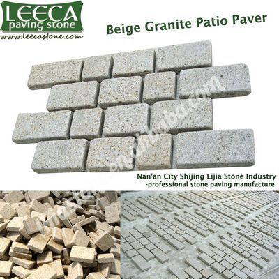 Interlocking cobblestone mat beige granite patio paver