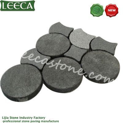 Dark gray stepping paver different kind of stone