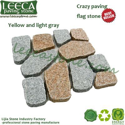 Yellow and light gray granite crazy paver moulds for paving stones