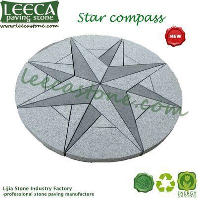 Chinese Grey Granite Star Compass Paving Stone Circle