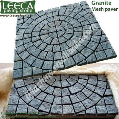 Cobble large square,circle in square,outdoor stone paving
