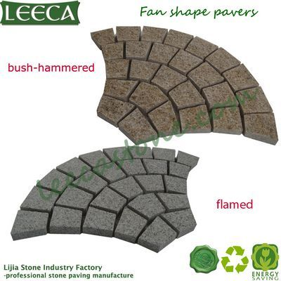 Fan shape peacock tail pattern paving