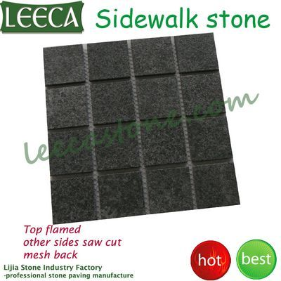 Natural black cobbles mesh garden paving