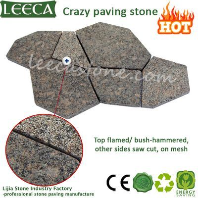 Natural brown stone exterior crazy paver