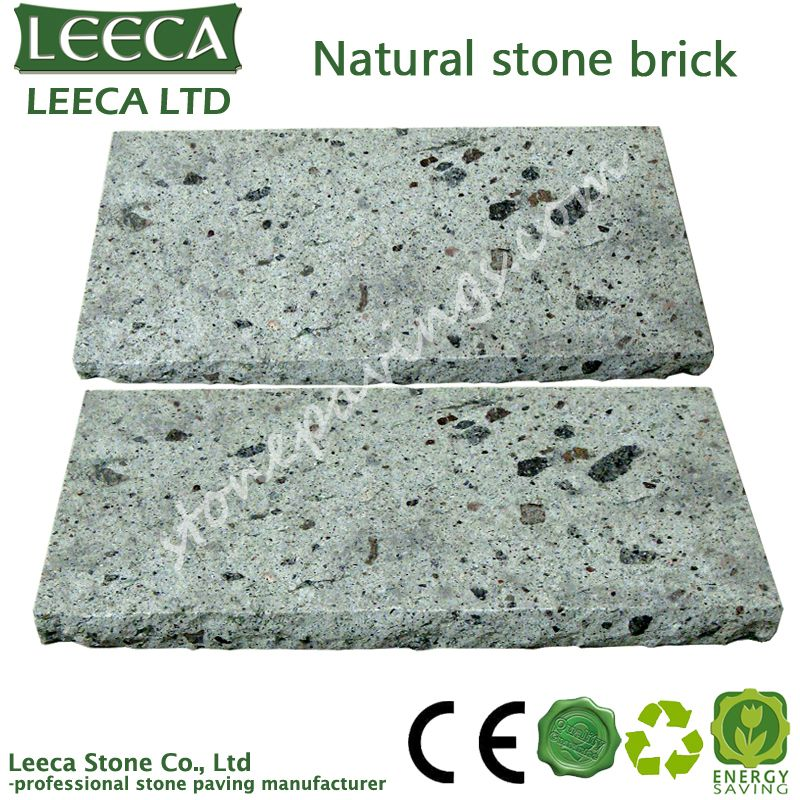 Natural beautiful green porphyry stone brick