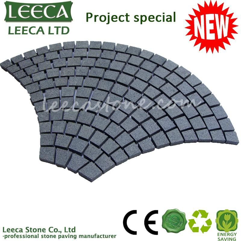 Fan-shaped mesh granite stone paving
