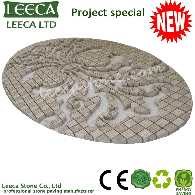 Oval pattern plaza granite paving stone