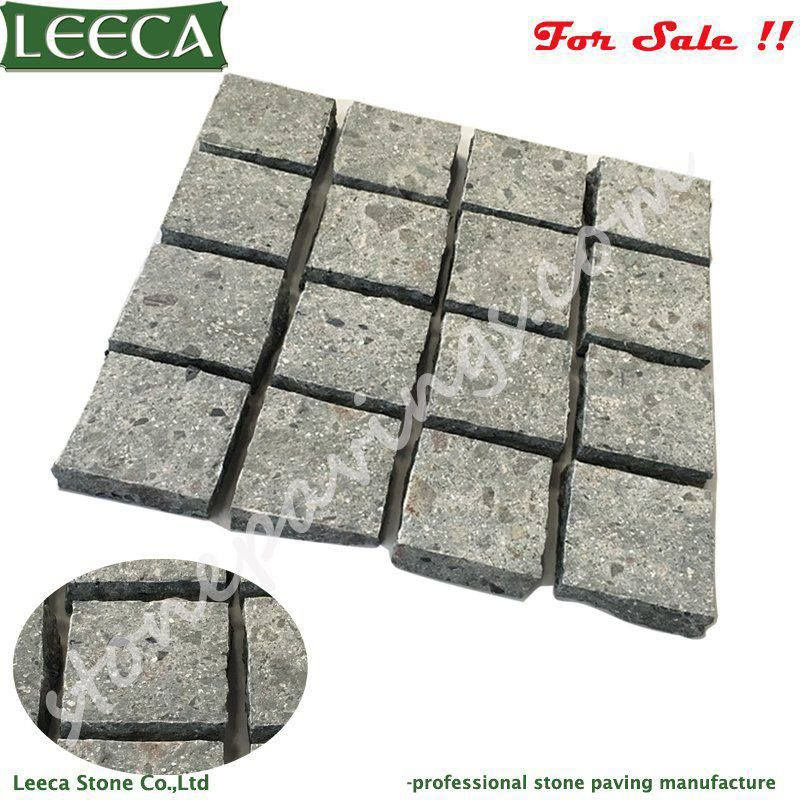 Porphyry on net, green porphyry paving stones, 40x40cm square paving