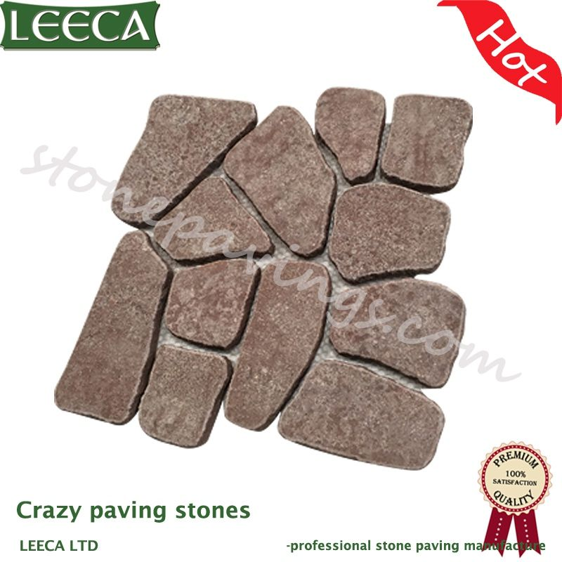 Red porphyry paving stones flagestone