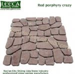 Red porphyry crazy paving stone irregular block