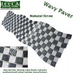 Black and white natural stone wavy paver