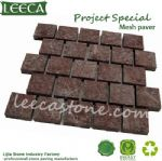 Natural red porphyry cobblestone mat paving slabs