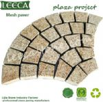 Rusty yellow flamed granite fan mesh paver