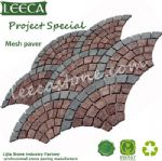 Red porphyry black basalt fan shape mesh paver