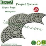 Green rose mesh paver fan shape stone paving