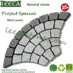 Fan shape grey granite mesh paver cheap paving stone