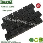 Black basalt natural stone patio pavers