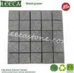 Driveway cobblestone mat dark grey granite stone paving