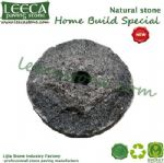 Outdoor parasol base roung edging stone black boulder