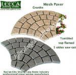 Euro fan granite mesh paver top flamed tumbled