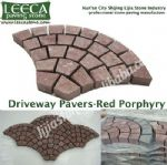 Different kind of stone Euro fan porphyry mesh back stone