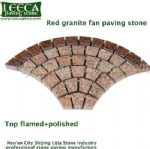 Red granite fan paving stone top flamed polished
