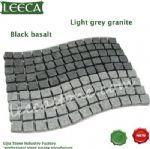 Black basalt light gray granite wavy paving slabs