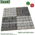 Light and dark gray granite cube Belgian block