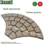 Bush hammered yellow granite fan-shaped paver