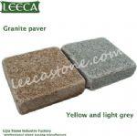Yellow and light gray granite paver Belgian block