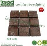 Red porfido square paver landscape stone mat