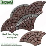 Red porphyry paving stone,stone by nature,mesh paver