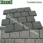 Light, dark gray granite interlocking paving stone