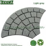 Chinese light gray granite fan shape cobblestone