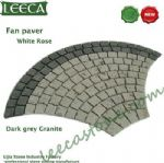Dark grey granite porphyry white rose fan paver