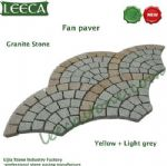Yellow light grey Chinese granite stone, fan paver