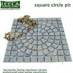 Square circle pit plaza walkway stone paver mat