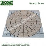 Beige circle light grey frame granite natural stone paver