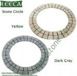 Yellow dark gray granite circle flagstone, Jidda paving