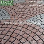 Garden pathway,stone on net,red porphyry