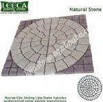 Yellow granite central circle red side panel