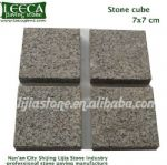 Bush hammered finish dark grey granite stone cube
