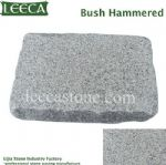 Silver grey bush hammered granite stone cube