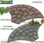 Red porphyry flamed paving stone black basalt