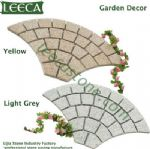 Yellow fan light grey granite garden decor