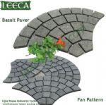 Euro fan pattern basalt paver mesh back stone