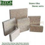 Yellow granite setts beige stone tiles