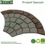 Peacock tail paving cobbles back mesh stone