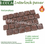 Red porphyry cobbles carpet stone