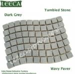 Wavy tumbled stone paver driveway stone